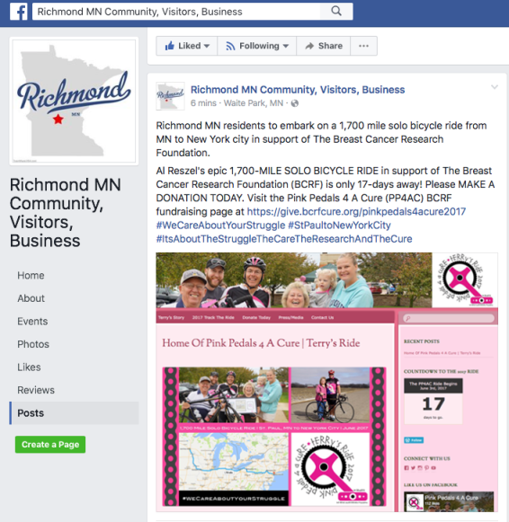 FB Richmond MN Community:Visitors Facebook page